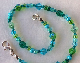 Blue Green Beaded Anklet Women's Accessories Multicolor Ankle Bracelet Summer Beach Jewelry