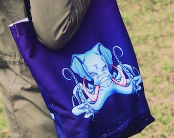 TOTE BAG 'Octophant II' polyester beach bag purse
