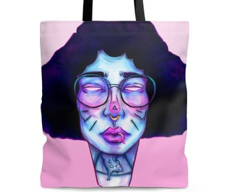 TOTE 'A game of Cat and Mouse' polyester shoulder bag