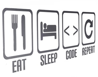 Eat Sleep Code Repeat Vinyl Wall Art Decals/Stickers - Various Colours
