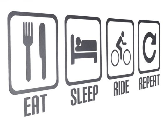 Cycling Decal // Sticker Sleep Pair - 2 Decals Eat Ride