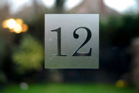 Traditional Square House Number Sticker various sizes Etched glass style