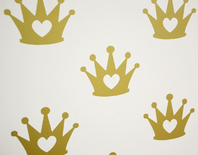 Princess Crown Vinyl Wall Art Decals/Stickers - Various Colours & Sizes -  perfect for Princess Themed Rooms