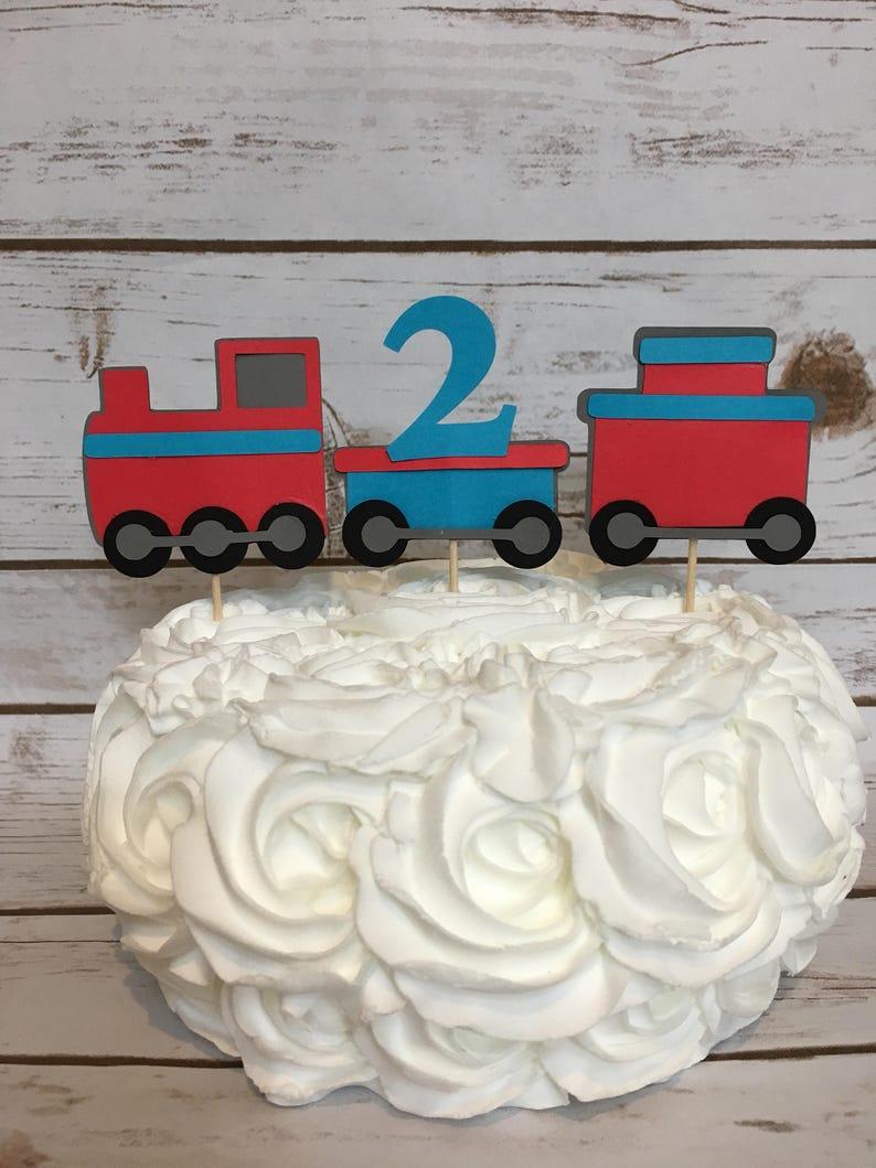 Chugga Two Train Birthday Cake Topper Cupcake Toppers Choo Smash