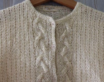 e2b1eff0ae1222 Vtg 60s Ivory MOHAIR Gold Threaded Cableknit CARDIGAN SWEATER M
