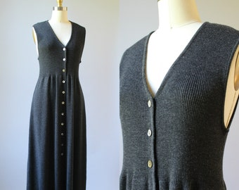 1257cb77fc Vtg 90s Long Ribbed Shale Gray Merino Wool Sleeveless Knit Sweater Dress  L XL
