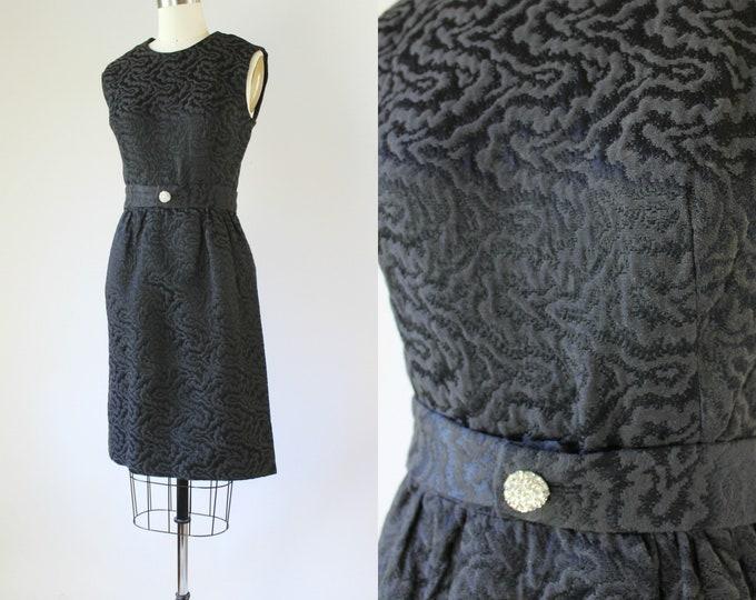 Vtg 60s LITTLE BLACK Cocktail Sheath Wiggle Sleeveless Dress Mad Men S