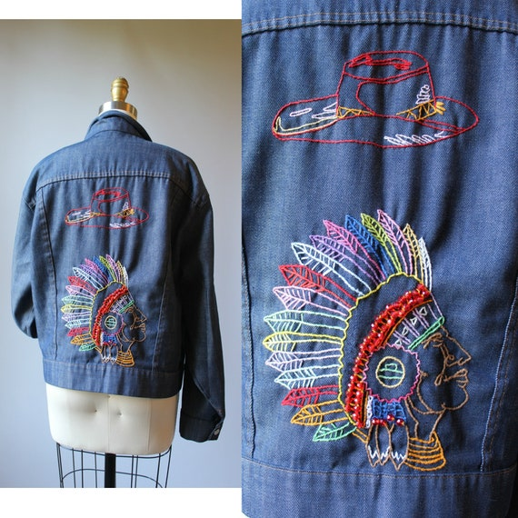 Vtg 70s Hand Embroidered Cowboys & Indians Western
