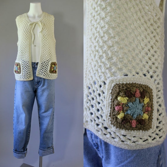Vintage 70s Hand Crocheted Granny Square Sleeveles