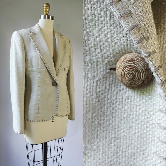 Vintage 90s Raw Silk Oatmeal Tailored Minimalist B