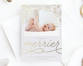 Foil Pressed Photo Holiday Card | The More the Merrier