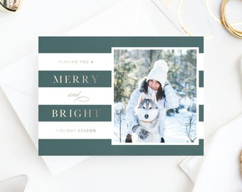 Foil Pressed Photo Holiday Card | Merry & Stripe