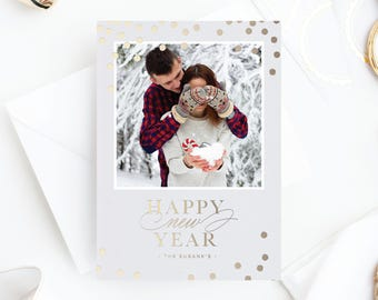 Foil Pressed Photo Holiday Card | Happy New Year
