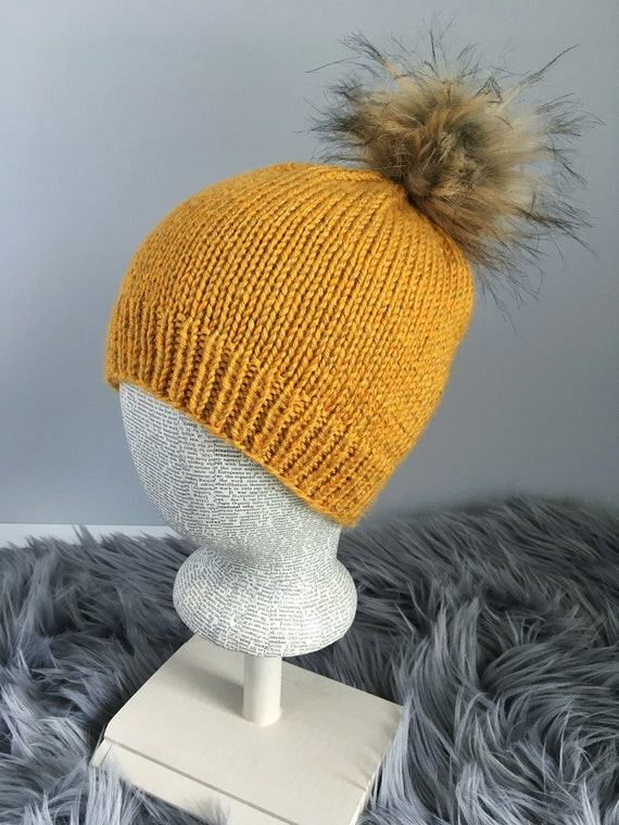 Willow Women s Yellow Basic Slouchy Beanie with Faux Fur  a24289bc5609