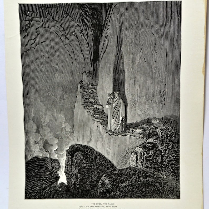 Gustave Dore Antique Engraving 1903 From Dante Inferno Book Illustration For Black And White Art Or Macabre Gothic Decor Dore Print 55