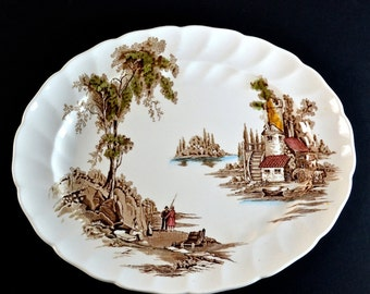 Johnson Brothers Serving Platter in Brown Transferware - Old Mill Pattern - Johnson Bros Serving Plate or Decorative Plate for Kitchen Decor