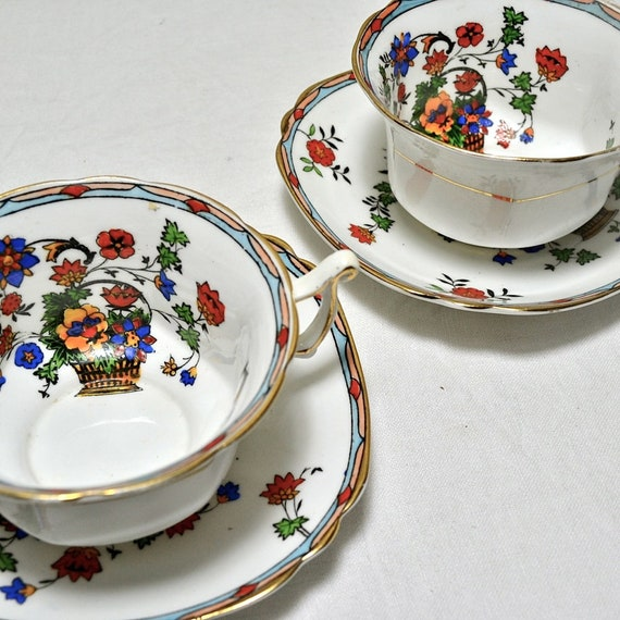 Pair Royal Stafford Teacup and Saucer Duos, English Bone China - Zeila -  Floral Tea Cups Hand Painted Vintage China for Afternoon Tea, Lot2