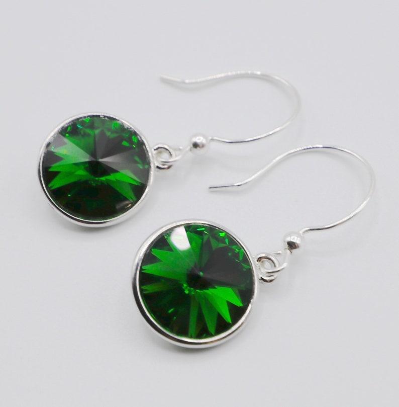 Crystal Earrings Green Swarovski Crystal Sterling Silver image 0