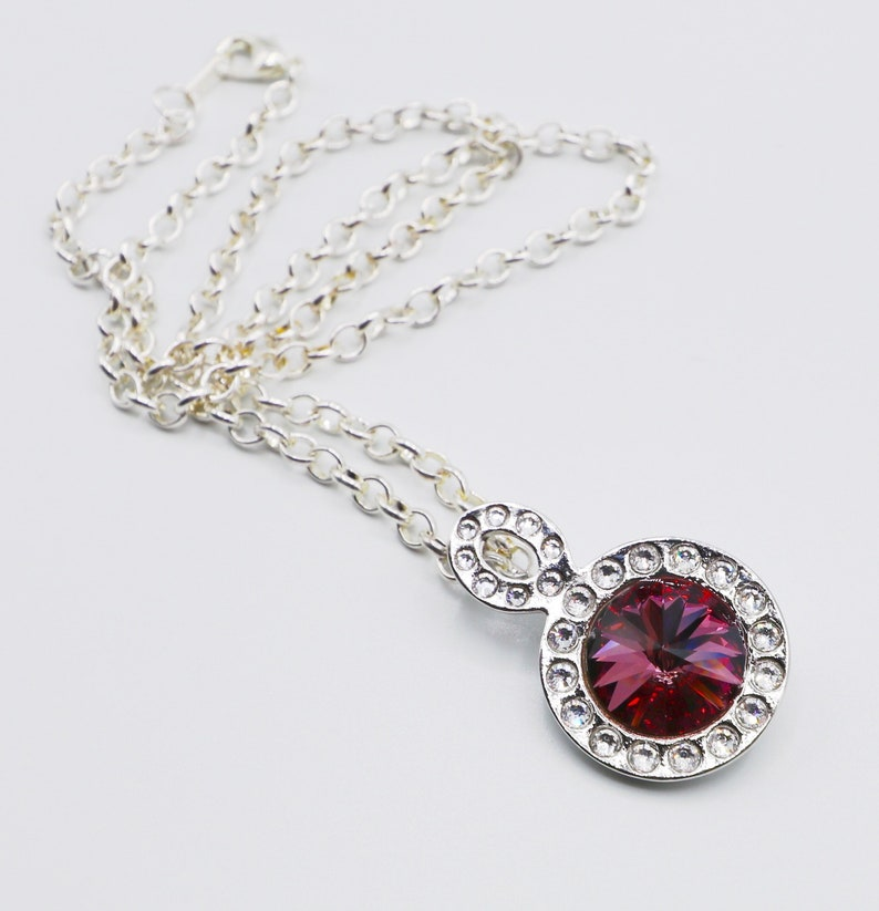 Crystal Necklace Pink Crystal  Swarovski Crystal October image 0