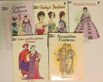 Fasion History Dover Coloring Books Set Of 5 Like New Condition Costume Historians Fashion Designers Homeschool And Book Fans