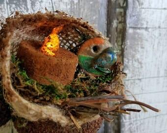 Clay pot tea light ornament country rustic primitive moss burlap