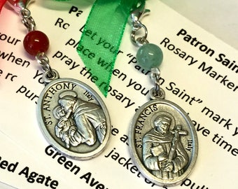 St. Anthony/St. Francis Rosary Marker/Zipper Pull/Stitch Marker with Stone Accent Bead
