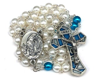 Our Lady of Lourdes Czech Glass Pearl Catholic Handmade Rosary in White and Teal with Blue Resin Inlaid Crucifix