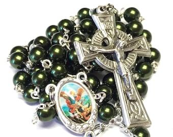 Saint Michael the Archangel Catholic Handmade Rosary in Dark Green Czech Glass Beads with a Celtic Crucifix