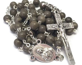 Brown Wood Marble Catholic Handmade Rosary with Jerusalem Crucifix and Center