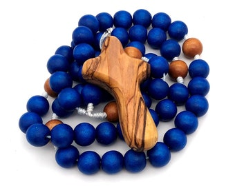 Blue Children's Rosary with Bethlehem Olive Wood Cross - Optional Personalization