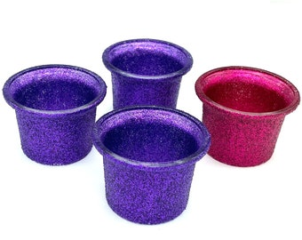 Advent Candle Holders Glass Votives with Pink and Purple Glitter - Small Flared Edges
