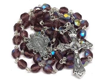 Catholic Handmade Rosary with Matte Purple Czech Glass Bead