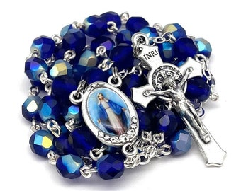 Our Lady of Grace Catholic Handmade Rosary in Royal Blue Czech Glass Beads