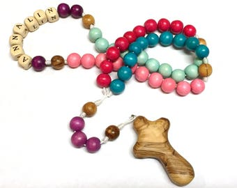 Personalized Child's Rosary with Bethlehem Olive Wood Cross, Personalized Baptism Rosary, First Communion Rosary