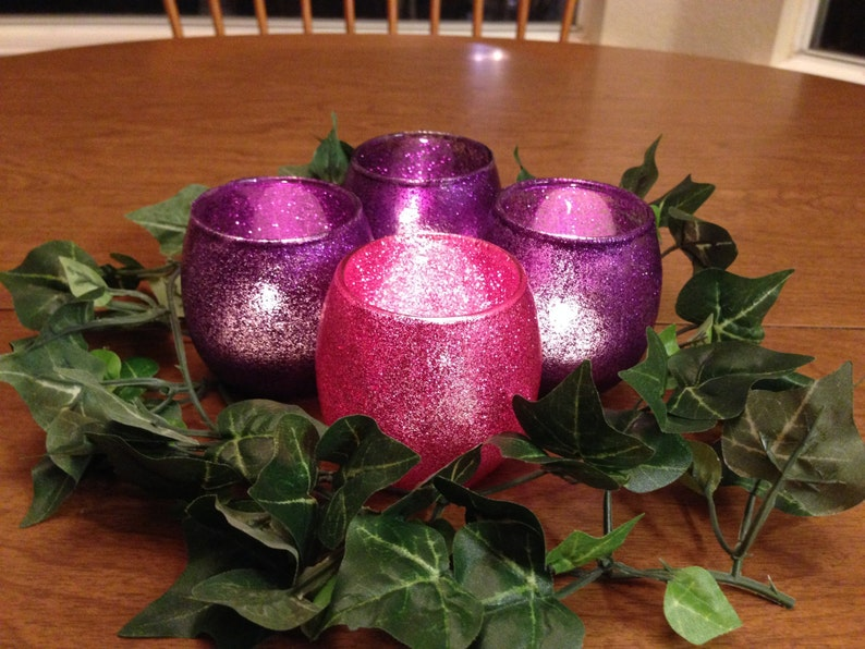 Advent Candle Holders Glass Votives with Pink and Purple image 0