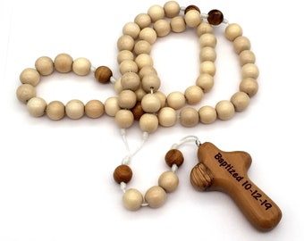 Personalized Child's Rosary with Bethlehem Olive Wood Cross, Personalized Baptism Rosary, First Communion Rosary, Engraved Cross