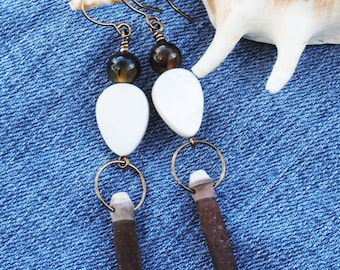 sea urchin spine earrings; long dangle earrings; natural earrings; brown earrings; sea life earrings; sea urchin spine; agate earrings