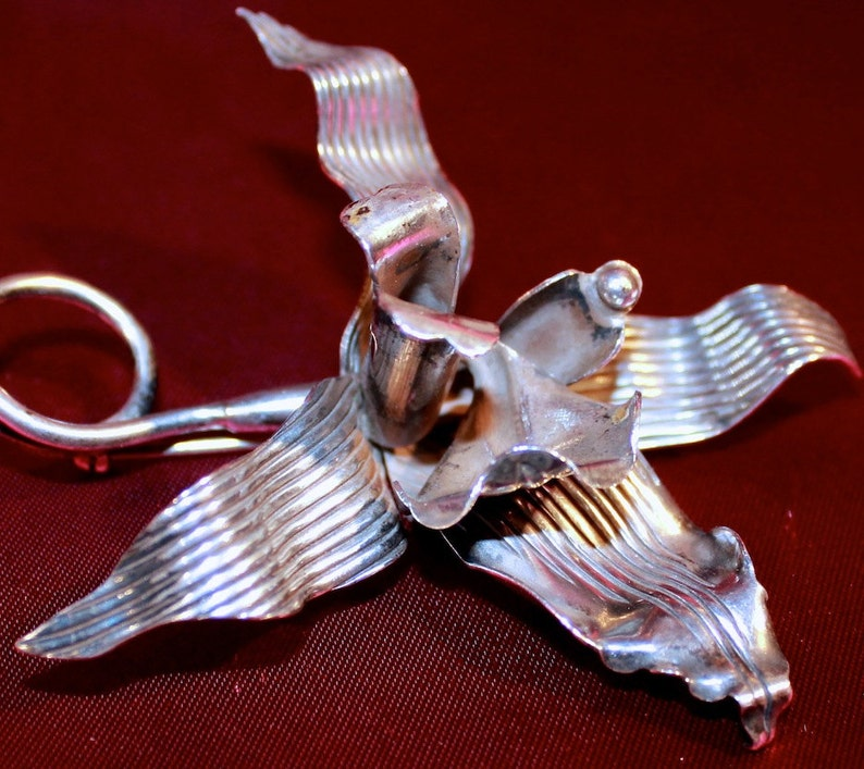 American Studio Substantial Sterling Orchid Large Brooch