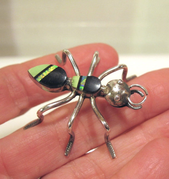 Zuni Sterling Spider Brooch Opal, Onyx and Gaspeit
