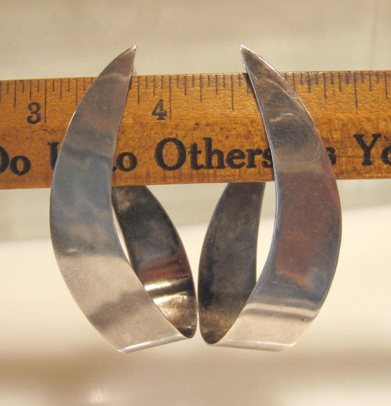 Huge Modernist 80's Taxco Sterling Earrings 17.78