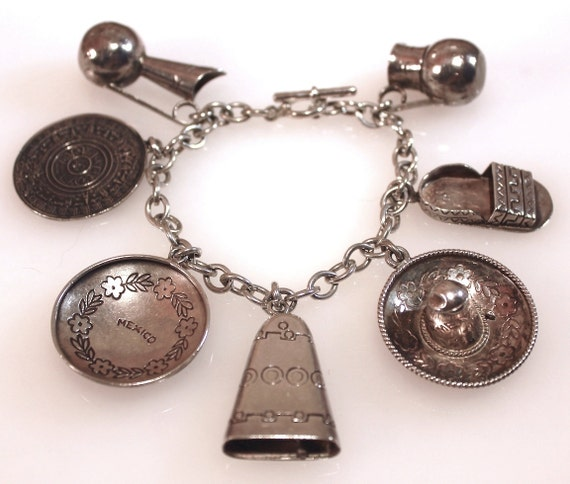 Sterling Charm Bracelet Mexico Vintage  Nationalis