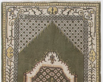 One Of a Kind Green over Cream Vintage Rug, 3.7' x 7.2' (114 x 220 cm) Turkish Antique Washed  Rug, Beige Rug with Shades of Army Green