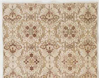 Floral Patterned Vintage Rug, 3.8' x 6.7' (116 x 207 cm) Turkish Antique Washed  Rug, Beige and Rose Gold Rug with Shades of Brown Flowers