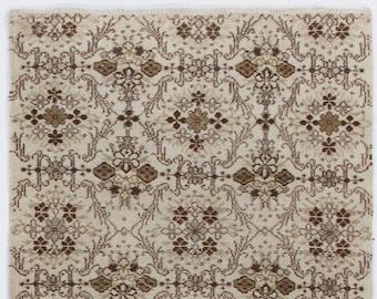 Beige Turkish Rug, 3.9' x 6.8' (120 x 210 cm) Turkish Antique Washed  Camel, Beige with Brown Patterns Turkish Rug