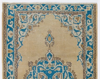 One Of a Kind Vivid Blue over Cream Vintage Rug, 4' x 6.6' (122 x 203 cm) Turkish Antique Washed  Rug, Carpet with Shades of Blue and Brown