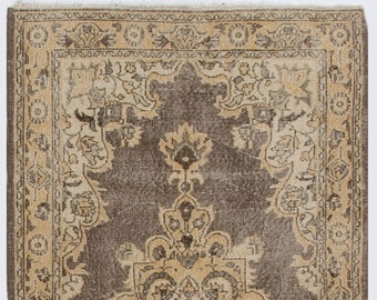 Beautiful Taupe Rug with Brown Patterns, Antique Washed Rug 3.9' x 6'.7' (120 x 205 cm) Turkish Handmade Vintage Rug, Sun Faded Rug