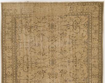 Light Brown & Taupe Turkish Rug, 7' x 10.9' (216 x 333 cm) Turkish Antique Washed  Camel Color Turkish Rug