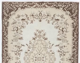 Pastel Brown on Beige Vintage Rug, 6.2' x 9.7' (192 x 298 cm) Turkish Antique Washed  Rug, Beige Rug with Beautiful Brown Patterns