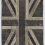 Union Jack British Flag Design Patchwork Rug, Grey & Beige, 5' x 8' (152 x 245 cm)