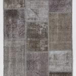 Gray and Light Brown Handmade Turkish Patchwork Rug